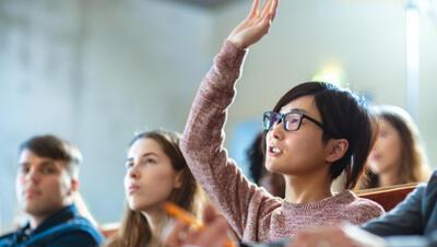 Student raises hand